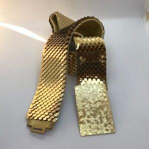 Vintage gold fish scales metallic stretch belt